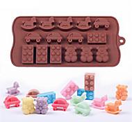 Недорогие -diy силиконовая пресс-форма для шоколадного льда кубический торт, украшающий форму мультяшный winnie троянов и автомобилей
