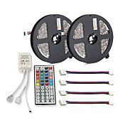 cheap -ZDM® 300 LEDs 2x 5M LED Strip Light 1 44Keys Remote Controller 4 Connectors RGB Cuttable Self-adhesive DC 12V