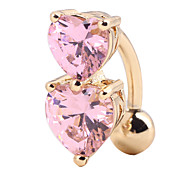 cheap -Heart Cubic Zirconia Zircon / Gold Plated Navel Ring / Belly Piercing - Women's Red / Blue / Pink Gothic Body Jewelry For Carnival / Club