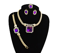 cheap -Women's Geometric Jewelry Set - Vintage, Statement, Oversized Include Bangles / Stud Earrings / Pendant Necklace Purple / Red For Wedding / Party / Statement Ring