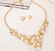 cheap -Women's Rhinestone / Imitation Pearl Pearl / Crystal / Gold Plated Floral Leaf / Flower Jewelry Set 1 Necklace / Earrings - Floral /