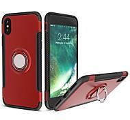 Недорогие -Кейс для Назначение Apple iPhone X iPhone 8 Защита от удара Кольца-держатели Кейс на заднюю панель броня Мягкий Силикон для iPhone X