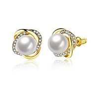 cheap -Women's Lovely Flower Cubic Zirconia / Imitation Pearl Stud Earrings / With Gift Box - Fashion Gold / Silver / Rose Gold Earrings For