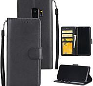 abordables -Coque Pour Samsung Galaxy S9 S9 Plus Porte Carte Portefeuille Avec Support Coque Intégrale Couleur unie Dur faux cuir pour S9 Plus S9 S8