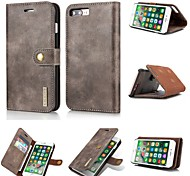 cheap -Case For Apple iPhone X Card Holder Wallet Flip Magnetic Full Body Cases Solid Color Hard Genuine Leather for iPhone X iPhone 8 Plus
