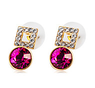 cheap -Women's Crystal Cubic Zirconia Crystal Zircon Gold Plated Stud Earrings - Classic Elegant Fashion Circle For Party / Evening Office &