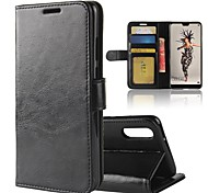 cheap -Case For Huawei P20 lite P20 Card Holder Wallet with Stand Flip Magnetic Full Body Cases Solid Colored Hard PU Leather for Huawei P20