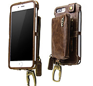 cheap -Case For Apple iPhone 6 Plus iPhone 7 Plus Card Holder Wallet Shockproof Armband Full Body Cases Solid Color Hard PU Leather for iPhone 8