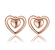 cheap -Women's Stud Earrings With Gift Box Fashion Lovely Alloy Heart Jewelry Rose Gold Wedding Daily Costume Jewelry