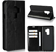 cheap -Case For Samsung Galaxy S9 S9 Plus Card Holder Wallet Shockproof with Stand Flip Full Body Cases Solid Color Hard Genuine Leather for S9