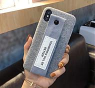 Недорогие -Кейс для Назначение Apple iPhone X iPhone 7 Plus С узором Кейс на заднюю панель Сплошной цвет Мягкий текстильный для iPhone X iPhone 8