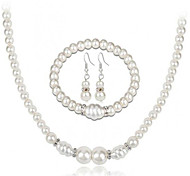 cheap -Women's Rhinestone Imitation Pearl Jewelry Set 1 Necklace / 1 Bracelet / Earrings - Elegant / Fashion / European Circle White Jewelry Set