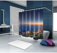 Недорогие -Занавески и крючки Современный Средиземноморье Полиэстер Современный стиль Новинки механически Водонепроницаемый Ванная комната