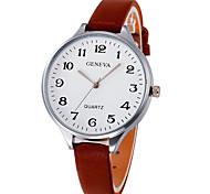 Недорогие -Жен. Наручные часы Китайский Крупный циферблат Кожа Группа Elegant / Кольцеобразный Черный / Белый / Коричневый