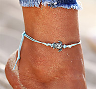cheap -Bohemian , Anklet - Men's Women's Black Beige Blue Vintage Bohemian Fashion Turtle Hemp Rope Alloy Anklet For Bikini Going out