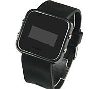baratos -Homens Digital Relógio de Pulso Calendário LED Silicone Banda Amuleto Preta