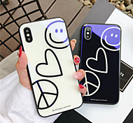 cheap -Case For Apple iPhone X iPhone 8 Shockproof Pattern Back Cover Heart Cartoon Hard Tempered Glass for iPhone X iPhone 8 Plus iPhone 8