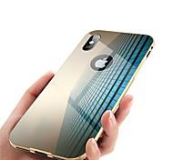 Недорогие -Кейс для Назначение Apple iPhone X iPhone 8 Зеркальная поверхность Чехол Однотонный Твердый Металл для iPhone X iPhone 8 Pluss iPhone 8