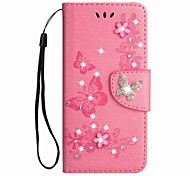 cheap -Case For Samsung Galaxy A8 2018 A8 Plus 2018 Card Holder Wallet Rhinestone with Stand Flip Magnetic Embossed Full Body Cases Butterfly