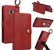 Недорогие -Кейс для Назначение SSamsung Galaxy S8 Plus S8 Бумажник для карт Кошелек Кольца-держатели Флип Магнитный Чехол Однотонный Твердый