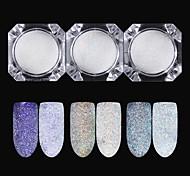 Недорогие -3 pcs Порошок блеска Зеркальный эффект / Гель для ногтей Дизайн ногтей Глянцевый Свадьба / Для праздника / вечеринки