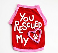cheap -Dogs / Cats / Pets Vest Dog Clothes Heart / Slogan / Cartoon Red / Blue Cotton Costume For Pets Male Casual / Daily / Cute Style