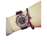 Недорогие -Муж. Спортивные часы Китайский Новый дизайн / Секундомер / Творчество Кожа Группа Мода / Скелет Черный / Белый