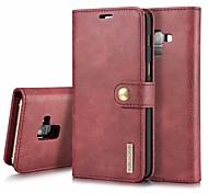 Недорогие -Кейс для Назначение SSamsung Galaxy A8 Plus 2018 / A7(2017) Кошелек / Бумажник для карт / Флип Чехол Однотонный Твердый Кожа PU для A3