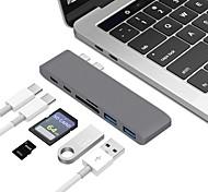 Недорогие -Type-C Адаптер USB-кабеля Все в одном Адаптер Назначение Macbook / MacBook Air / MacBook Pro 0 cm Алюминий