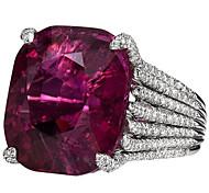 bfcc906f77737b economico -Per donna Porpora Rubino sintetico Classico Solitario Taglio  radiante Anello anello per il pollice