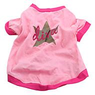 お買い得  -犬 Tシャツ 犬用ウェア Stars ピンク コットン コスチューム ペット用 男性用 女性用 カジュアル/普段着