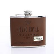 abordables Copas y Vasos Personalizados-Regalo personalizado Brown 5 oz frasco de cuero de la PU