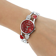 Dames Modieus horloge Armbandhorloge Kwarts Hol Gegraveerd imitatie Diamond Legering Band Heart Shape Bangle Zilver