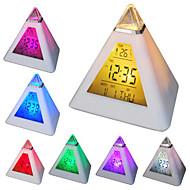 7 LED de colores cambiantes en forma de pirámide despertador digital calendario reloj termómetro (blanco, 3xAAA)