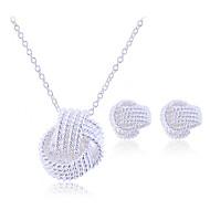 preiswerte -Damen Sterling Silber / Silber Schmuck-Set Ohrringe / Halsketten - Geflochten / Brautkleidung / Elegant Schmuck Silber Schmuckset /