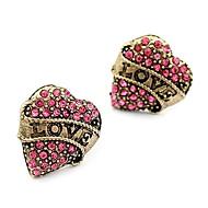 billige -Øredobber Kjærlighed Hjerte Mote Luksus Smykker imitasjon Diamond Legering Hjerte Formet Smykker Til Daglig