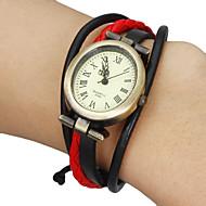 Γυναικεία Μοδάτο Ρολόι Βραχιόλι Ρολόι Ιαπωνικά Χαλαζίας Γνήσιο δέρμα Μπάντα Μποέμ Μαύρο Λευκή Κόκκινο Καφέ ΧακίΜαύρο/Κόκκινο Μαύρο/Άσπρο