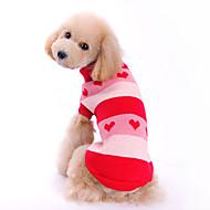 Dog Sweater Dog Clothes Woolen Winter Spring/Fall Cute Hearts Red Costume For Pets