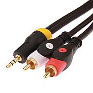 billige Elektronikktilbehør-jsj® 1,8 m 5,904 fot 3,5 mm stereo hann til to rca hann lydkabel - svart