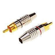 billige -1 par RCA stik lydkabel mand stik guld adapter i skruen, fri svejsning
