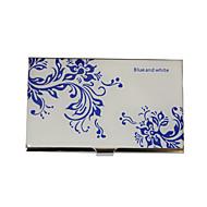 Personalized Blue-White Flower diseño grabado Tarjetero