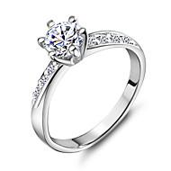 זול -בגדי ריקוד נשים מדומה טבעת הטבעת נחושת מצופה פלטינום 18K זהב Fashion Ring תכשיטים כסף עבור חתונה Party יומי קזו'אל ספורט 5 / 6 / 7 / 8 / 9 / אבן נוצצת / סגסוגת