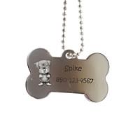 abordables Estampados y Regalos Personalizados-Personalized hueso Regalo Shape Name Plata Id Etiqueta del animal doméstico con la cadena para perros