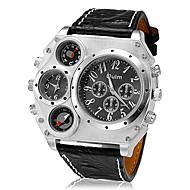 Недорогие Фирменные часы-Oulm Муж. Армейские часы Наручные часы Кварцевый Японский кварц Термометр С двумя часовыми поясами Cool Кожа Группа Аналоговый Черный / Коричневый - Черный Коричневый Два года Срок службы батареи