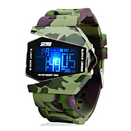 Недорогие Фирменные часы-SKMEI Муж. Армейские часы Наручные часы электронные часы Цифровой 30 m Защита от влаги Будильник Календарь силиконовый Группа Цифровой Кулоны Зеленый - Черный Два года Срок службы батареи / ЖК экран