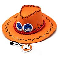 Hat/Kasket Inspireret af One Piece Portgas D. Ace Anime Cosplay Tilbehør Kasket / Hat Orange PU Læder Mand