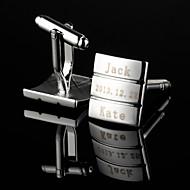 abordables Accesorios de Moda Personalizados-Personalizada del regalo del modelo del rectángulo Fringe grabada plata Gemelos