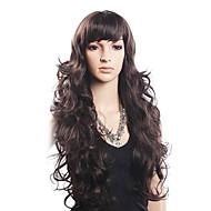 Alta calidad el 20% del pelo humano y 80% de fibra de cabello sin tapa larga peluca ondulada resistente al calor (rubia)