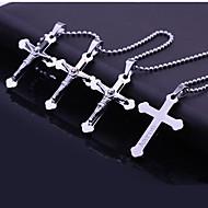 Personlig gave rustfrit stål Kors graveres vedhæng halskæde smykker (Inden for 10 tegn)