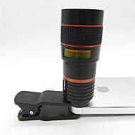 baratos -teleobjetiva universal 8x com clipe para celular iphone Samsung HTC vermelho celular inteligente + preto